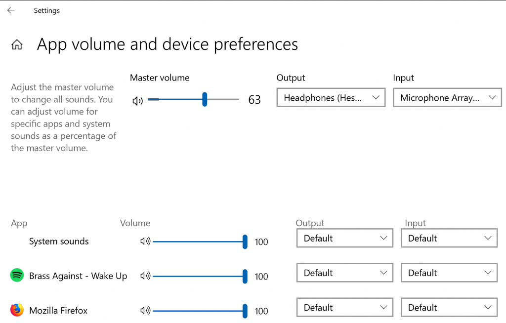 Application Audio Settings in Windows 10